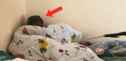Eve giren hırsız battaniyenin altında yakalandı