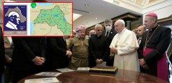 Papa pulunda harita skandalı! Birçok kentimiz sözde Kürdistan sınırlarına dahil edildi